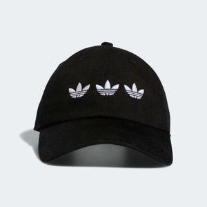 ADIDAS TRIPLE TREFOIL STRAP-BACK RELAXED BLACK HAT